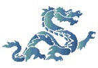 Blue Green Dragon - Cross Stitch Chart