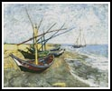Fishing Boats on the Beach - Cross Stitch Chart