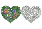 Floral Heart 1 - Cross Stitch Chart