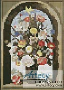 Mini Flowers in a window niche - Cross Stitch Chart