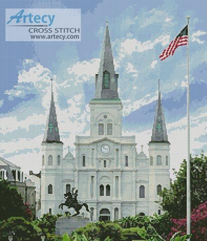 Saint Louis Cathedral, New Orleans, USA - Cross Stitch Chart