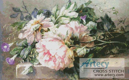 Still life with Peonies and Morning Glories - Cross Stitch Chart