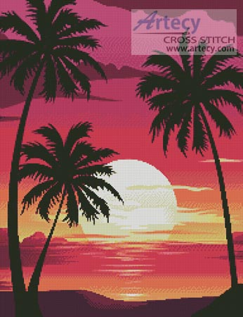 Sunset with Palm Trees - Cross Stitch Chart