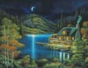 Moonlit Cabin (Large) - Cross Stitch Chart