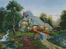 Moonrise over Stone Cottage - Cross Stitch Chart