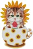 Sunflower Kitty Cup - Cross Stitch Chart