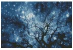 Tree Silhouette against Starry Night (Large)- Cross Stitch Chart
